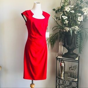 Calvin Klein red dress classic and elegant
